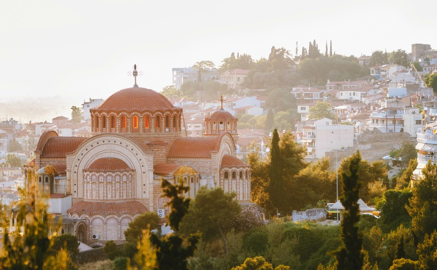 View of the Church St. Paul on top of the Thessaloniki city at sunset, Greece