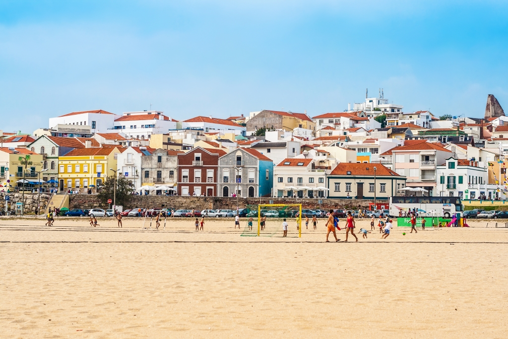 FIGUEIRA DA FOZ, PORTUGAL - Typical portuguese buildings, beach and coast of Figueira da Foz, ocean resort on the coast of Atlantic ocean: Figueira da Foz, Portugal, September 09, 2012.