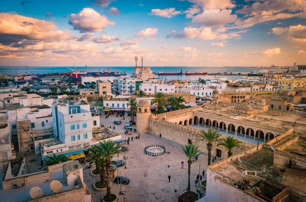 Beautiful sunset in Sousse, Tunisia. Cityscape with the view on Mosque and port of Sousse.