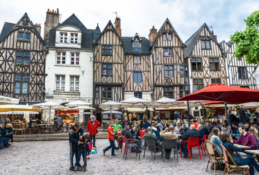 TOURS,FRANCE-CIRCA JUNE 2015: at the central town square