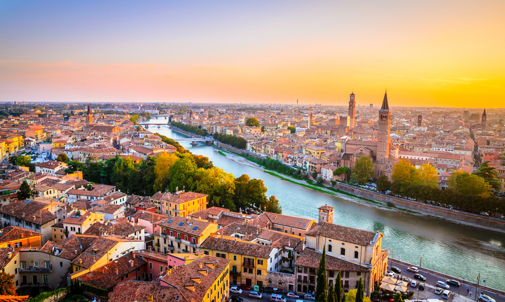 Beautiful sunset aerial view of Verona, Veneto region, Italy.