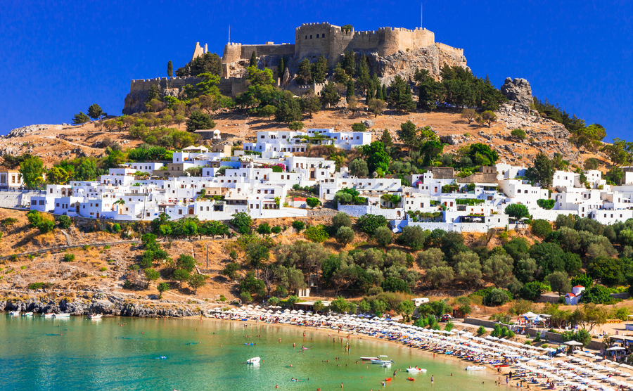 Rhodes island - famous for historic landmarks and beautiful beaches .Greece