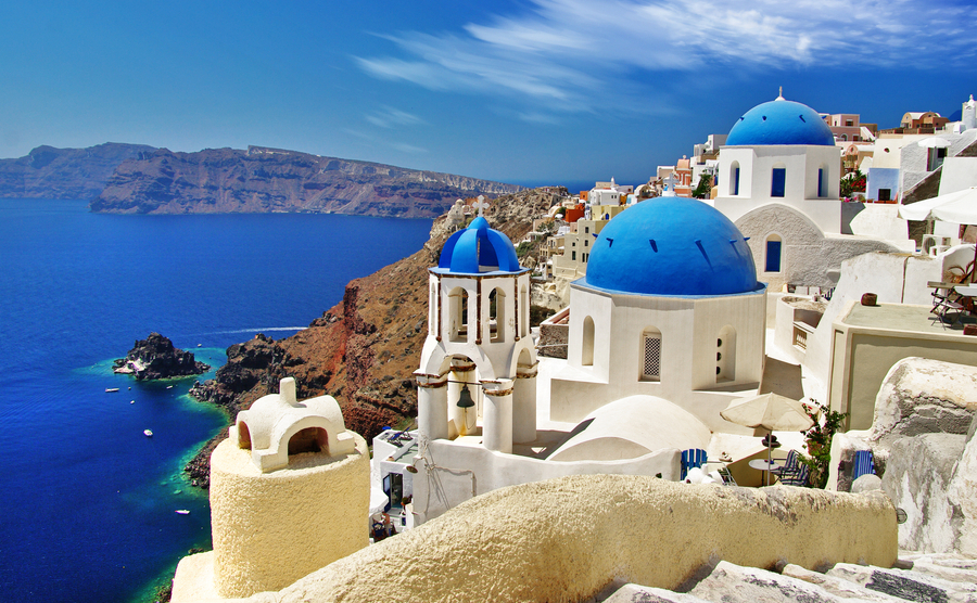 white-blue Santorini - view of caldera with domes