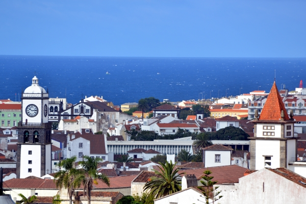 View from the tower of the church Mae de Deus over the roofs of ponta delgada
