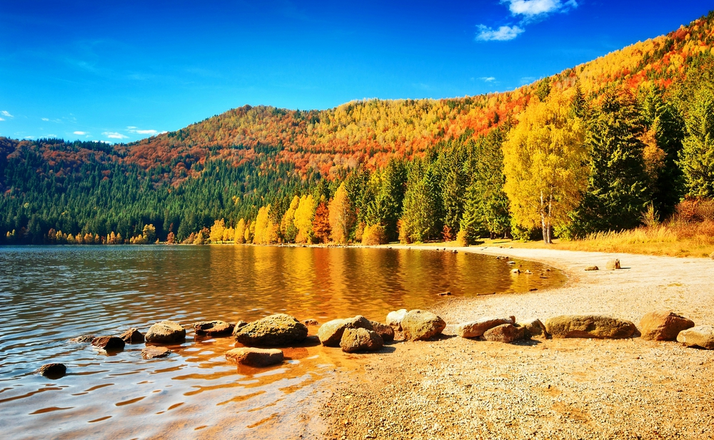 Autumn forest landscape and stunning famous volcanic lake in Transylvania St Anna Lake