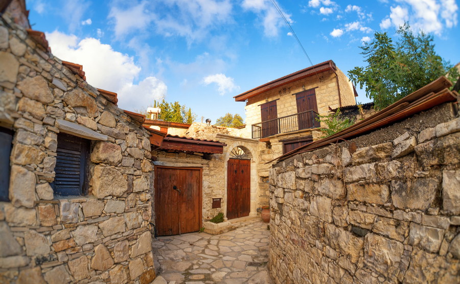 Street in the traditional Cypriot village Lofu. Limassol District, Cyprus