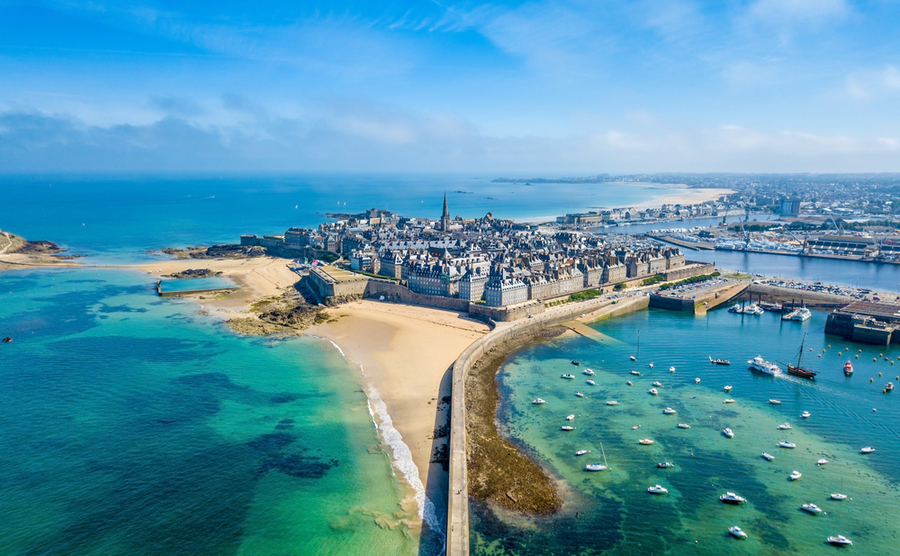 An aerial view of one of Brittany's most beautiful towns, Saint-Malo.