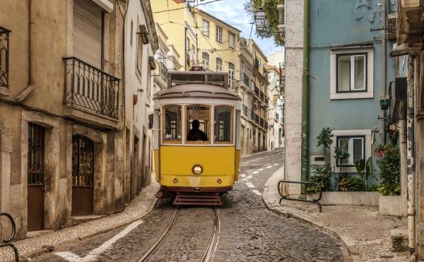 A tram climbing the hill in Lisbon.