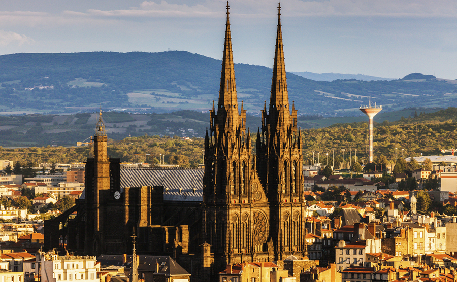 Clermont-Ferrand and its famous cathedral.