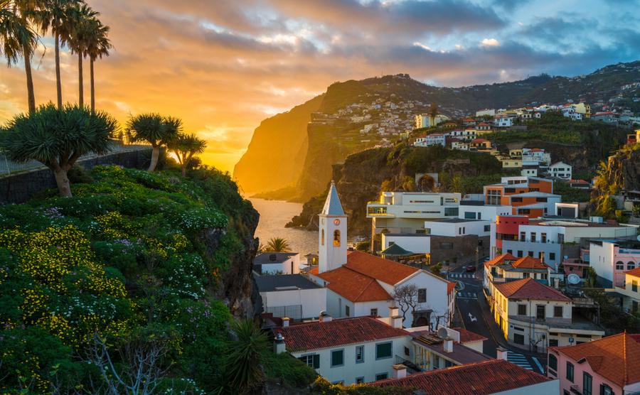 Camara de Lobos village at sunset, Madeira